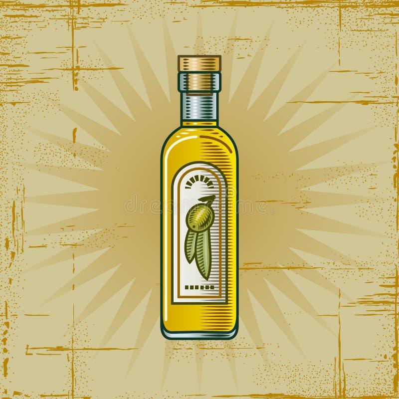 Rétro bouteille d'huile d'olive illustration stock