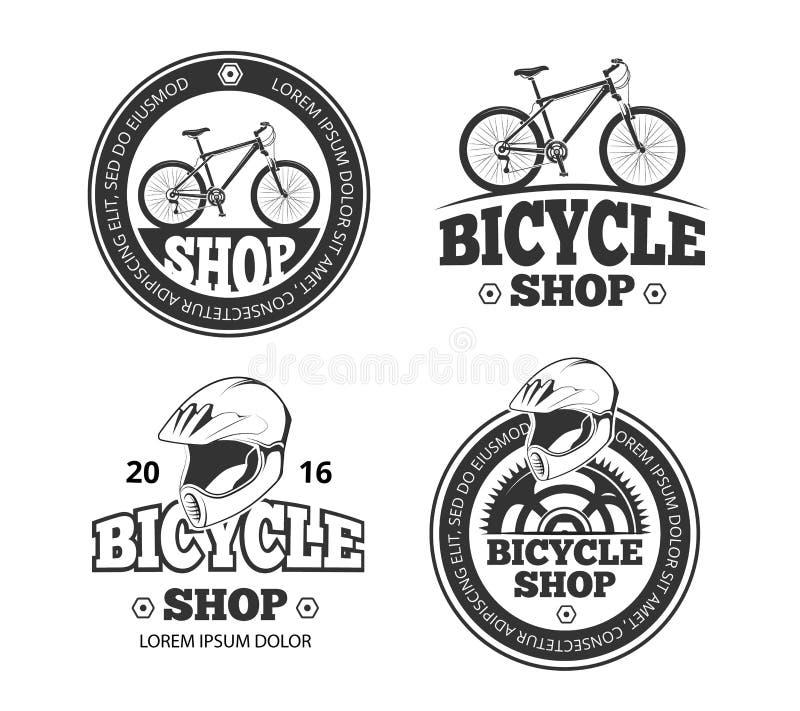 Rétro boutique de bicyclette, labels de vecteur de sport de vélo, emblèmes, insignes illustration libre de droits