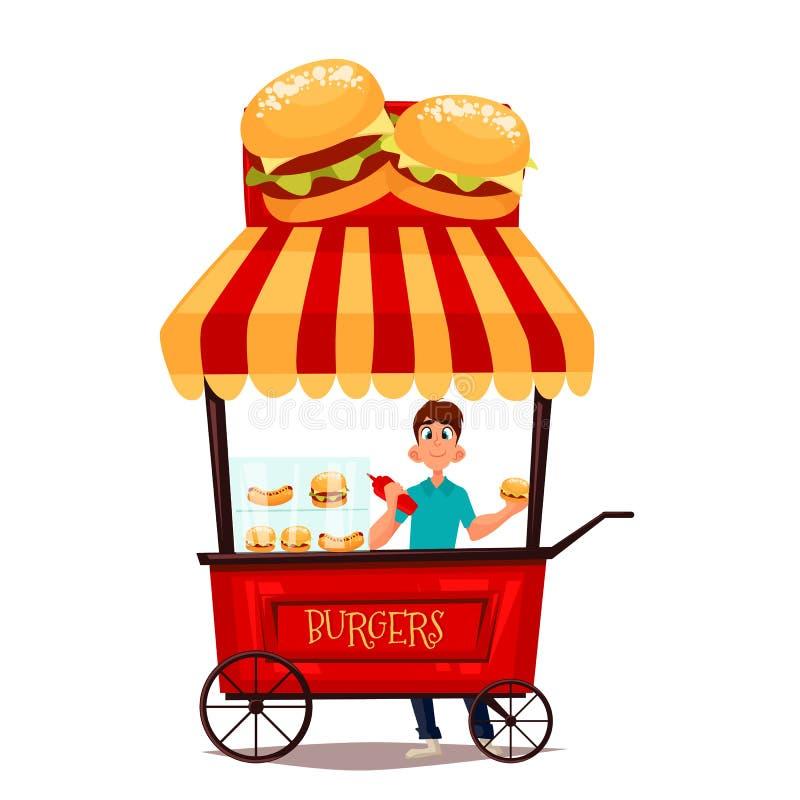 Rétro boutique mobile avec des hamburgers illustration stock