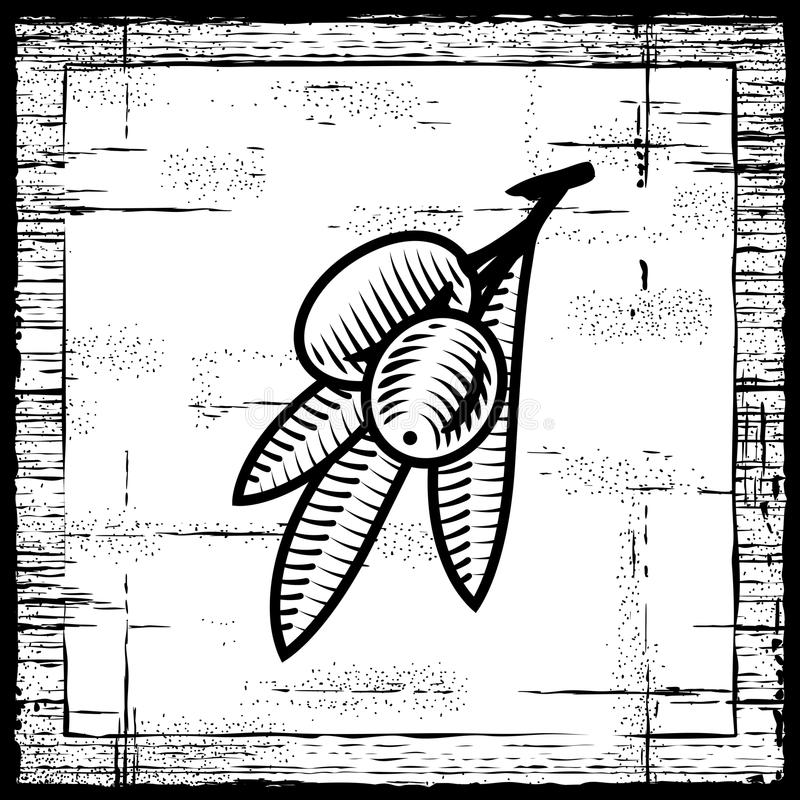 Rétro branche d'olivier noire et blanche illustration libre de droits