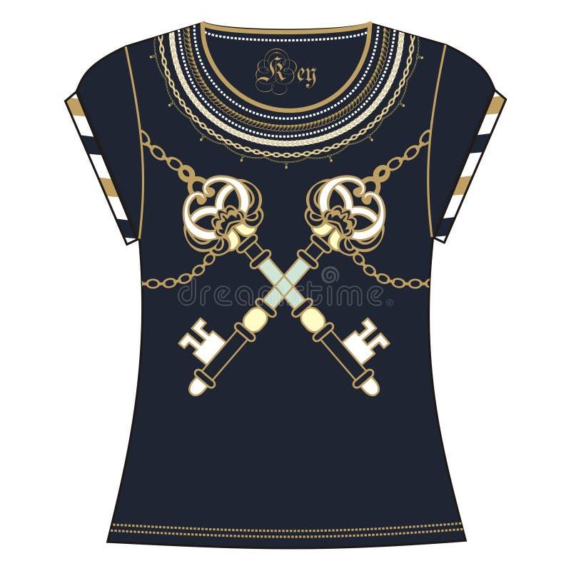 Rétro broderie de conception d'impression de T-shirt de femme de couleur héraldique de bleu d'or de clé et de chaîne Collier de m illustration de vecteur
