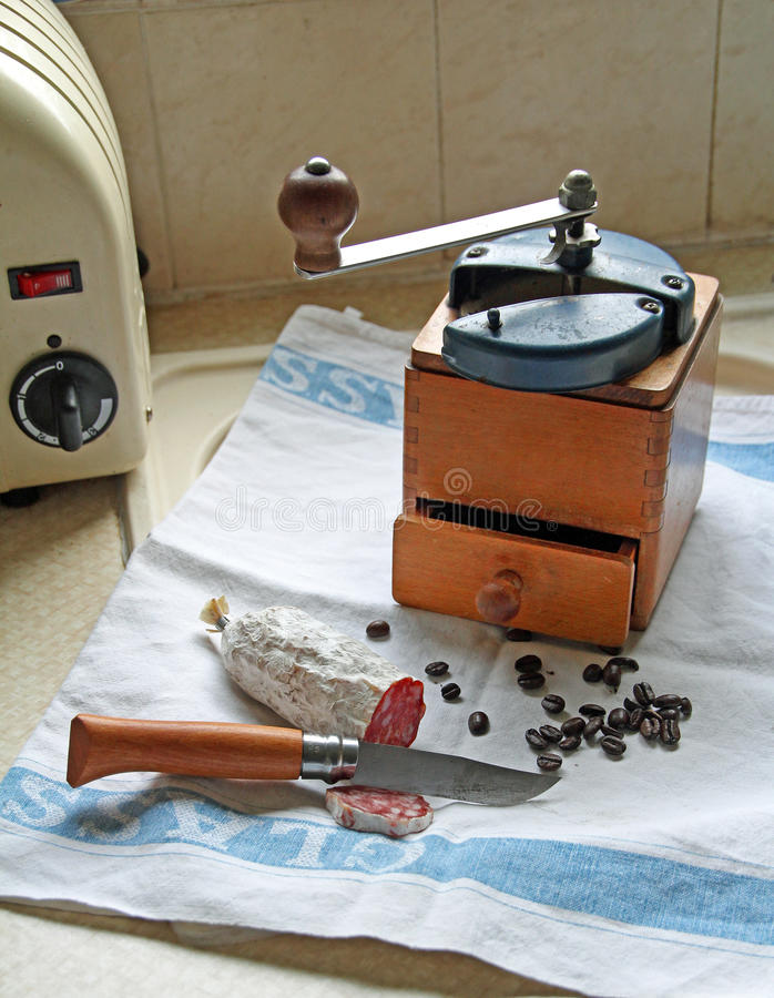 Rétro broyeur de grain de café de vintage photos libres de droits