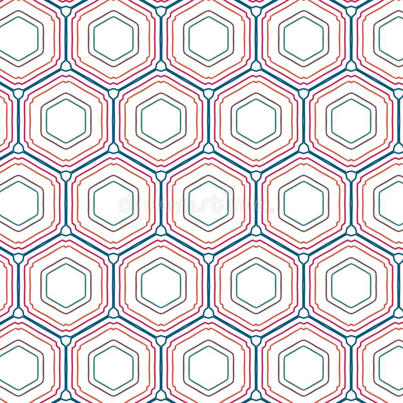 Rétro bruit Art Colors Geometric Hexagonal Pattern illustration libre de droits