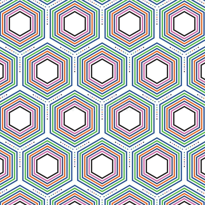 Rétro bruit Art Colors Hexagonal Geometric Pattern illustration libre de droits