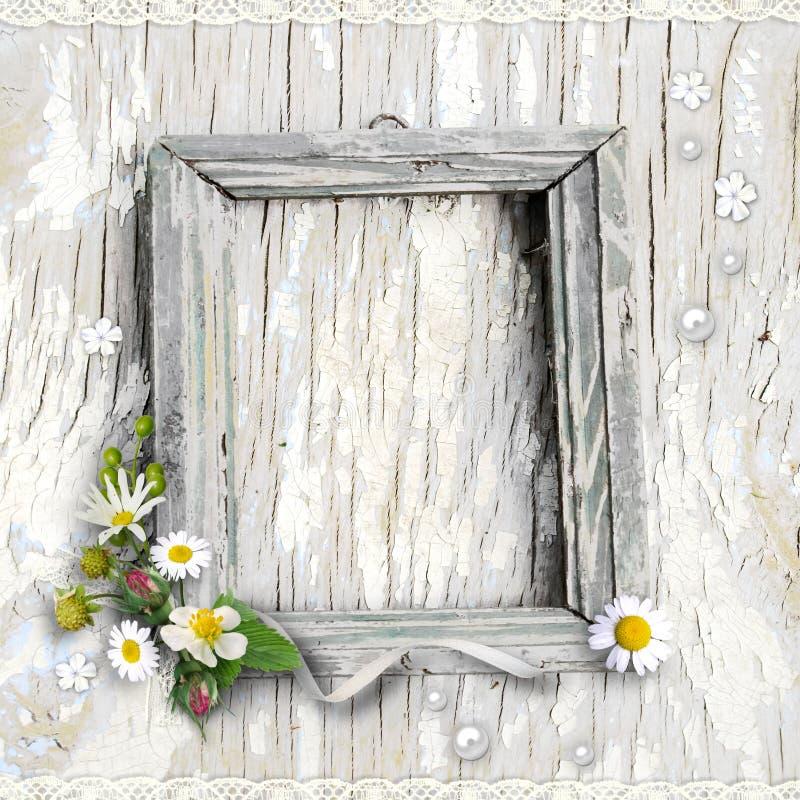 Rétro cadre avec des fleurs illustration stock