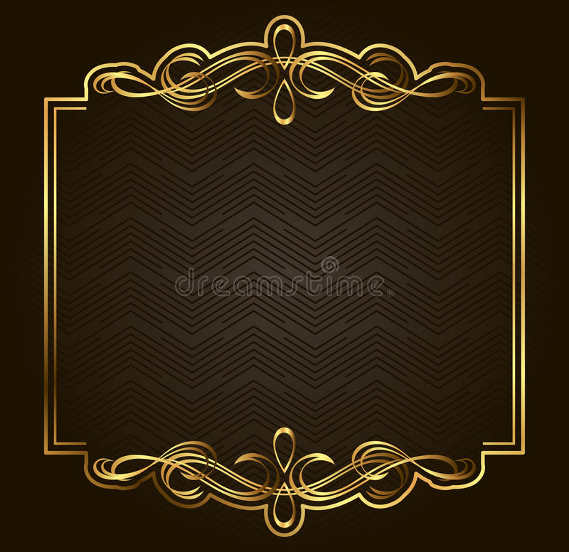 Rétro cadre calligraphique d'or de vecteur sur le fond foncé illustration libre de droits