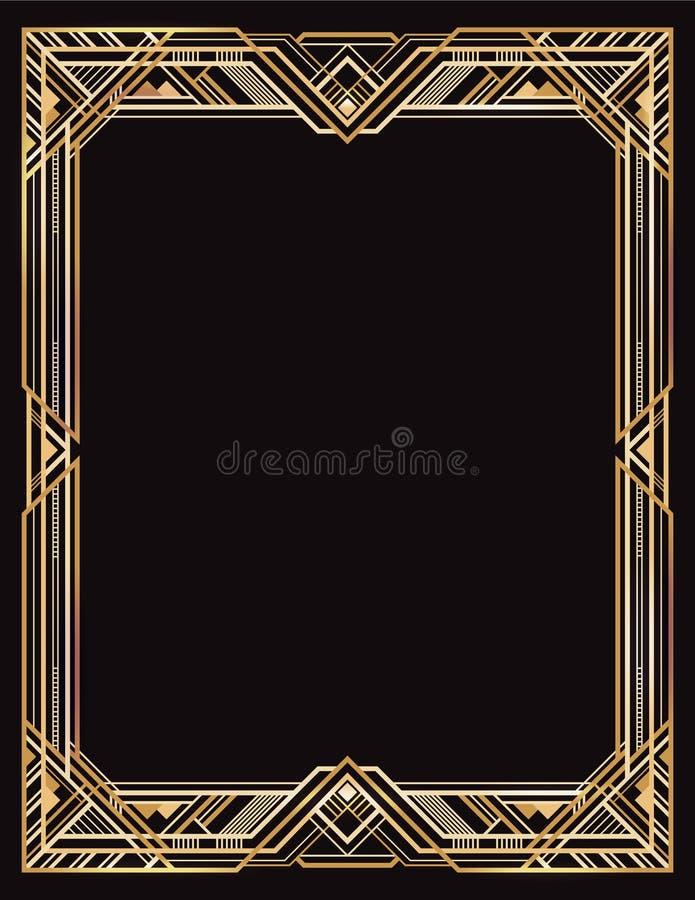 Rétro cadre d'or et noir rectangulaire illustration stock