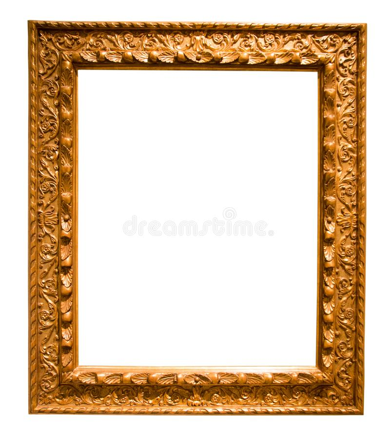Rétro cadre rectangulaire d'or pour la photographie sur le fond d'isolement photo libre de droits
