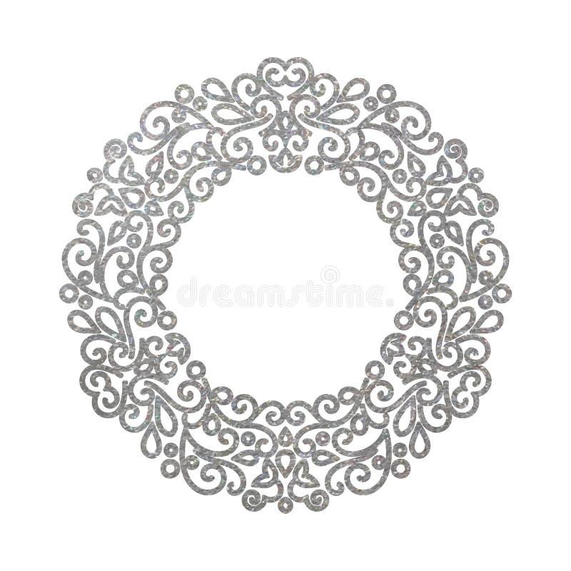 Rétro cadre rond floral argenté de luxe élégant illustration libre de droits