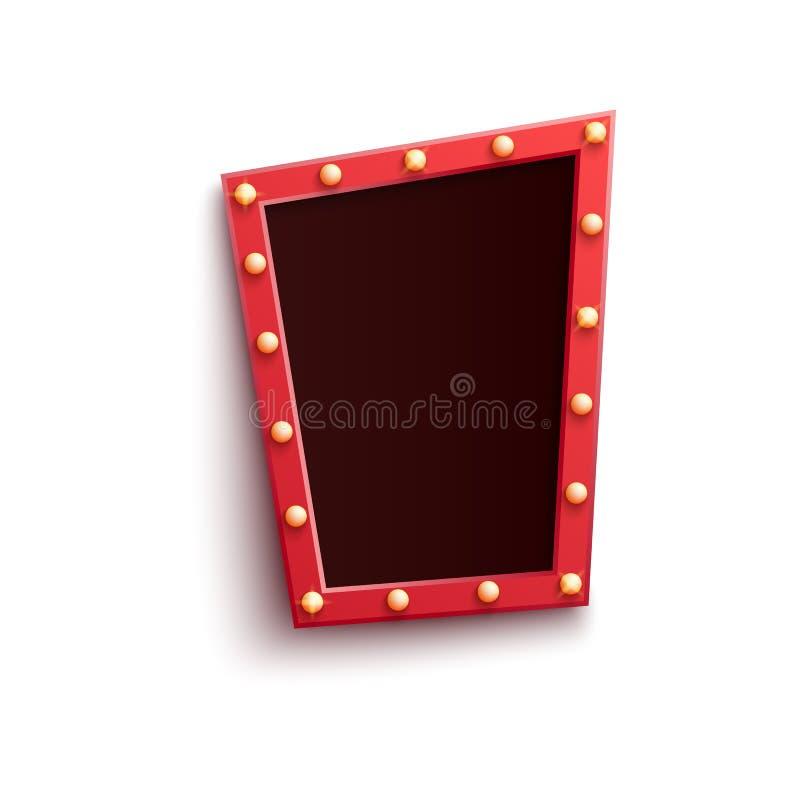 Rétro cadre rouge sous la forme de quadrilatère avec briller les ampoules dans le style réaliste d'isolement sur le fond blanc illustration stock