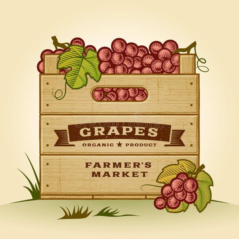 Rétro caisse de raisins illustration stock