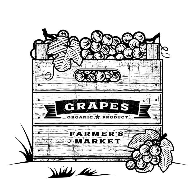 Rétro caisse de raisins noirs et blancs illustration stock