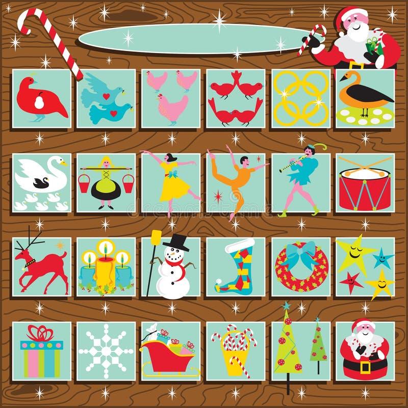 Rétro calendrier de l'arrivée de Santa illustration de vecteur
