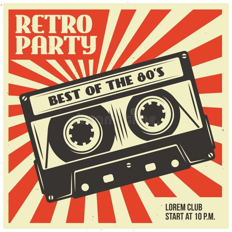 Rétro calibre d'affiche de partie avec la cassette sonore Illustration de vintage de vecteur illustration de vecteur