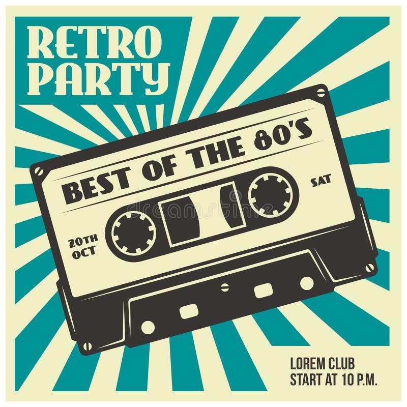 Rétro calibre d'affiche de partie avec la cassette sonore Illustration de vintage de vecteur illustration libre de droits