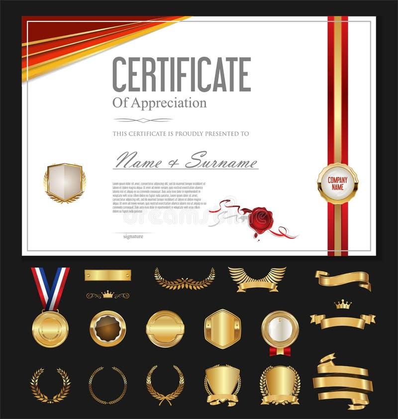 Rétro calibre de cru de certificat ou de diplôme avec les labels de luxe illustration de vecteur
