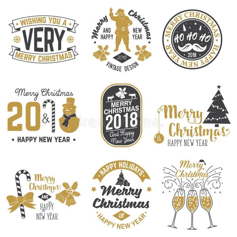 Rétro calibre de Joyeux Noël et de bonne année 2018 avec Santa Claus illustration stock