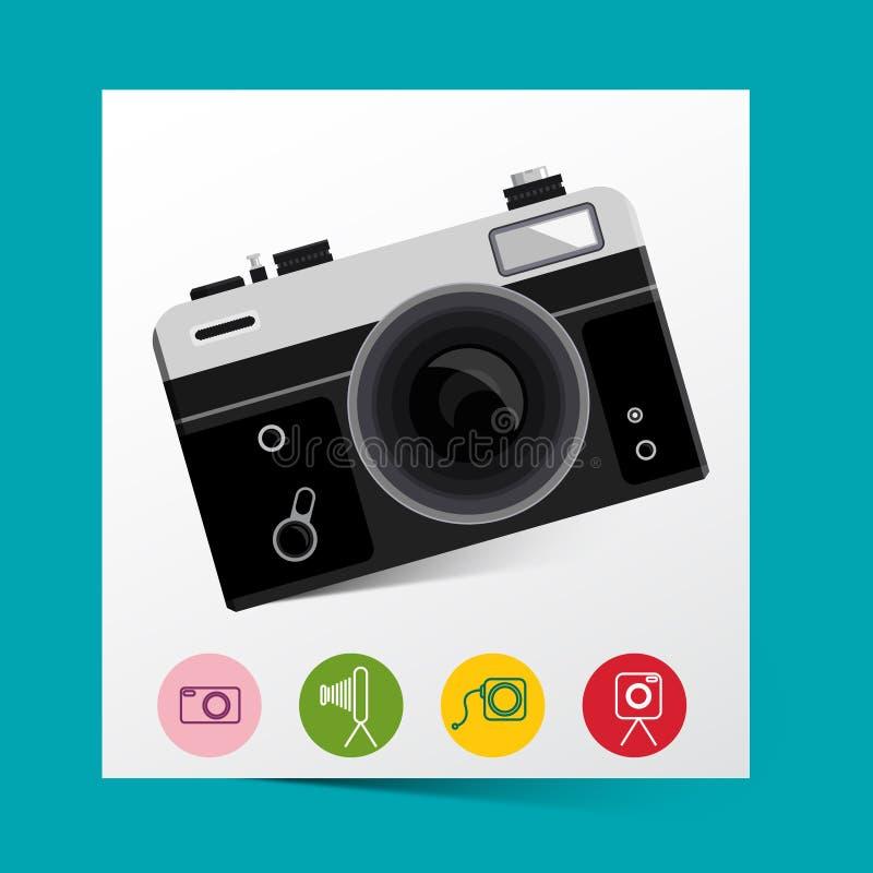 Rétro caméra analogue de photo avec des icônes de photographie illustration libre de droits