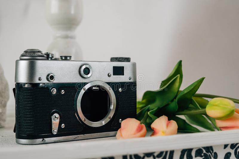 Rétro caméra avec des fleurs dans la chambre blanche photo libre de droits