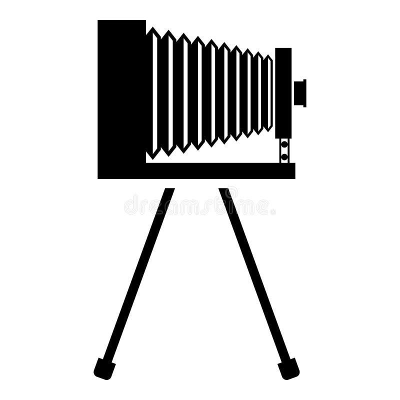Rétro caméra sur l'image plate de style de film de cru de trépied de caméra de vieille de photo de caméra d'icône de noir de coul illustration libre de droits