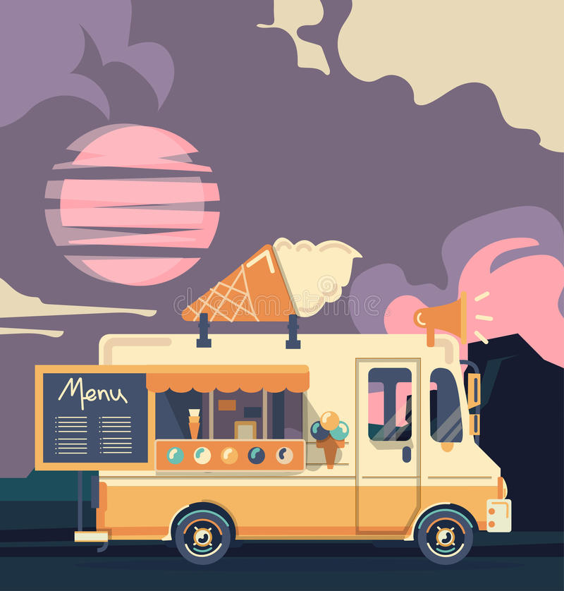 Rétro camion de crème glacée de vintage illustration libre de droits