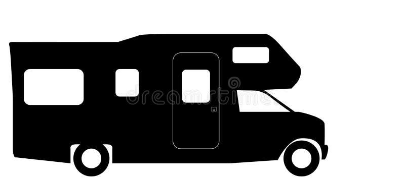 Rétro campeur Van Silhouette de rv illustration libre de droits