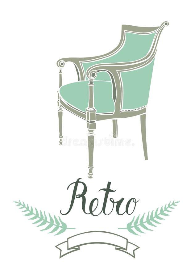 Rétro carte avec le fauteuil de vintage illustration de vecteur