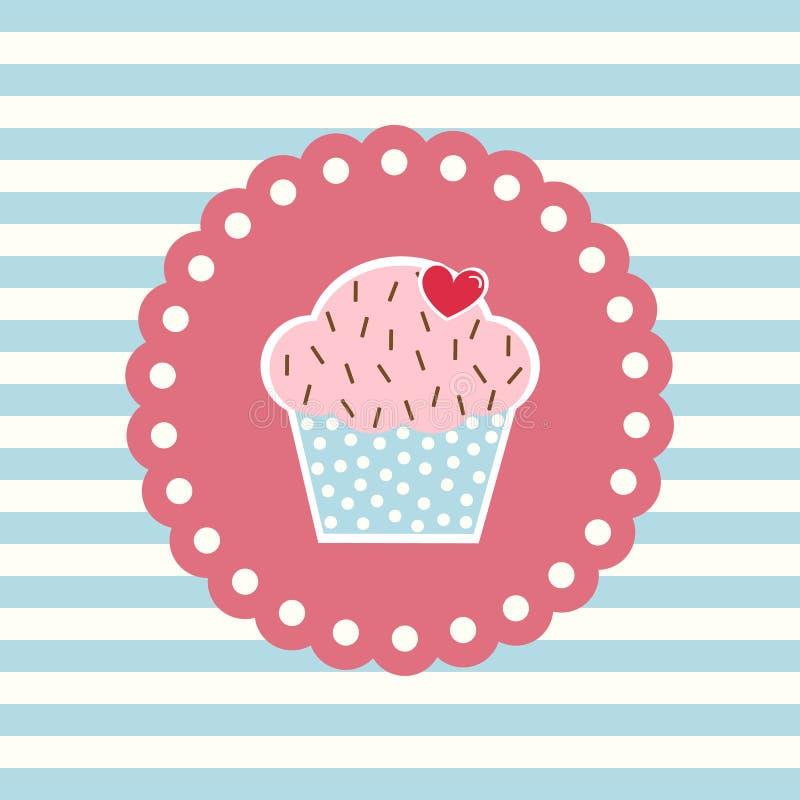 Rétro carte avec le petit gâteau illustration de vecteur