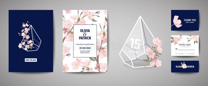 Rétro carte botanique d'invitation de mariage, économies de vintage la date, conception de calibre des fleurs de Sakura et feuill illustration stock