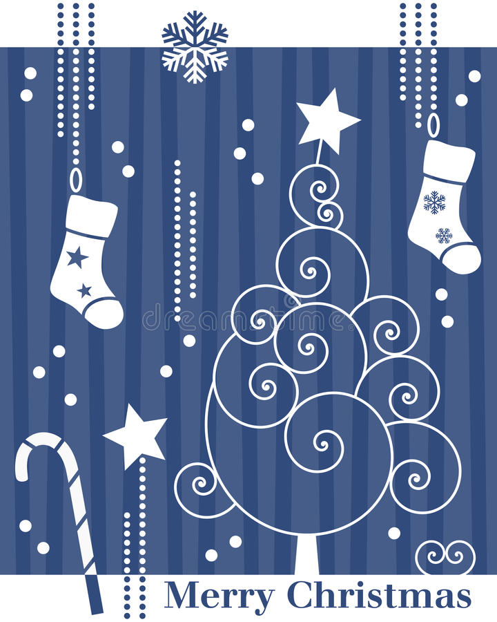 Rétro carte d'arbre de Noël [2] illustration libre de droits