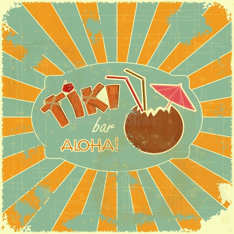 Rétro carte de bar de Tiki de conception illustration de vecteur