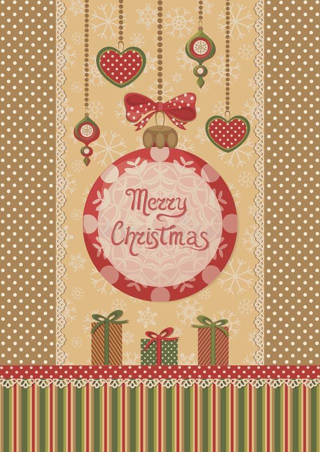 Rétro carte de Noël illustration libre de droits