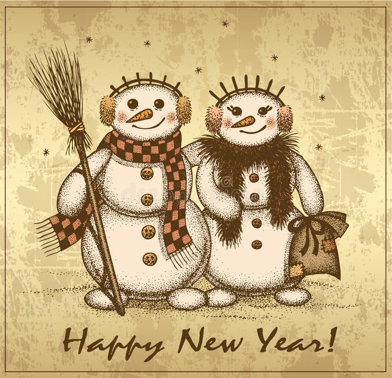 Rétro carte de Noël avec deux bonhommes de neige garçon et fille illustration stock