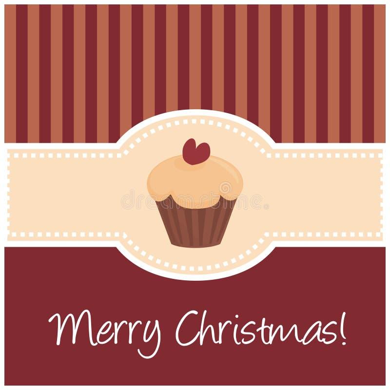 Rétro carte de Noël douce avec le gâteau de pain illustration stock