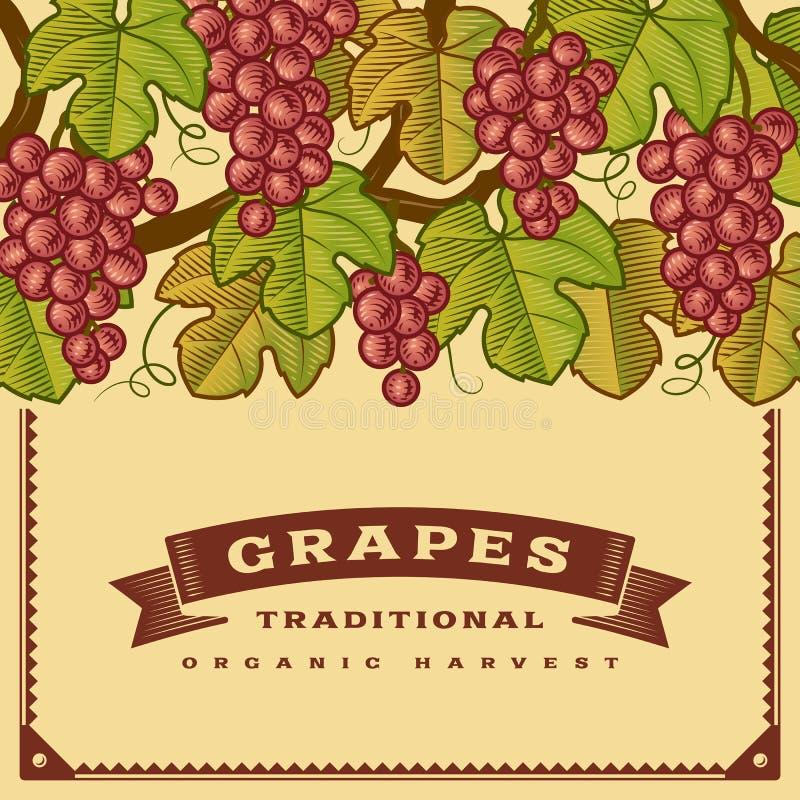 Rétro carte de récolte de raisins illustration stock