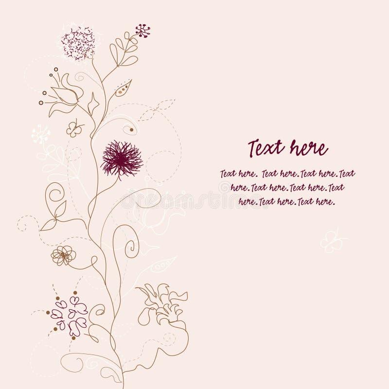 Rétro carte de voeux florale illustration stock