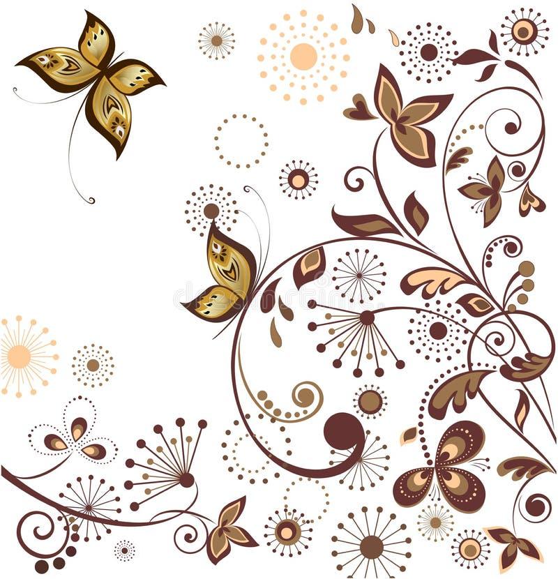 Rétro carte florale illustration stock