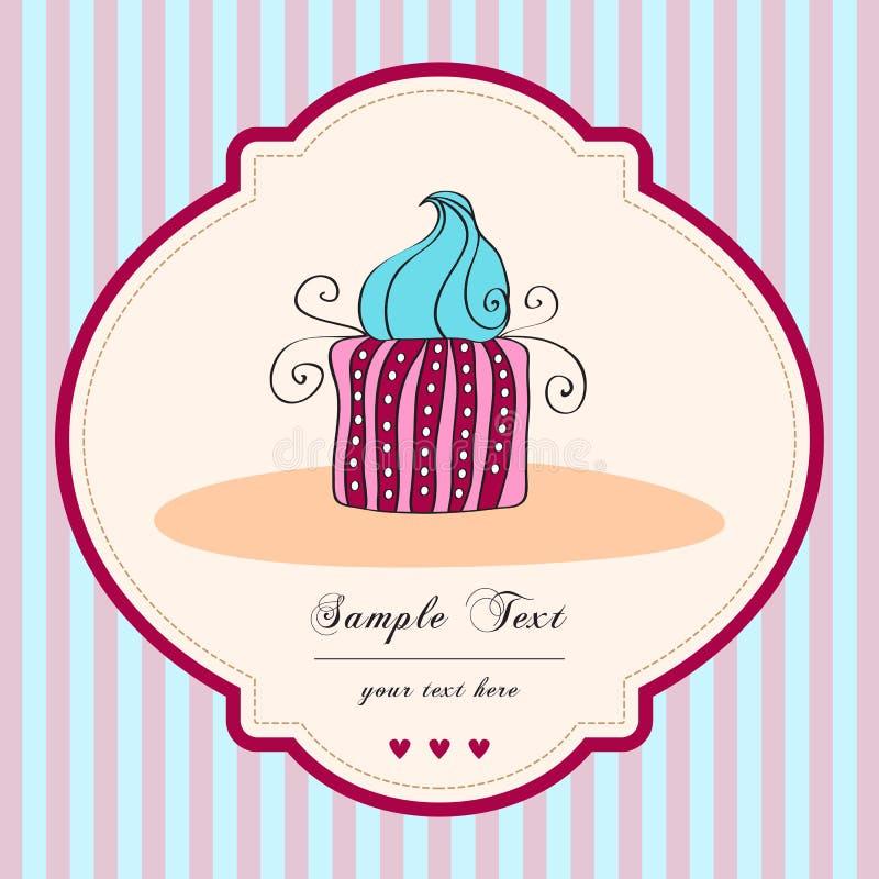 Rétro carte mignonne de gâteau illustration de vecteur