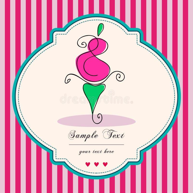 Rétro carte mignonne de gâteau illustration libre de droits