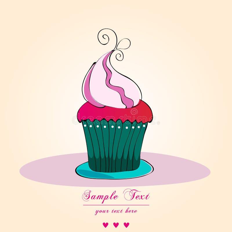 Rétro carte mignonne de gâteau illustration stock