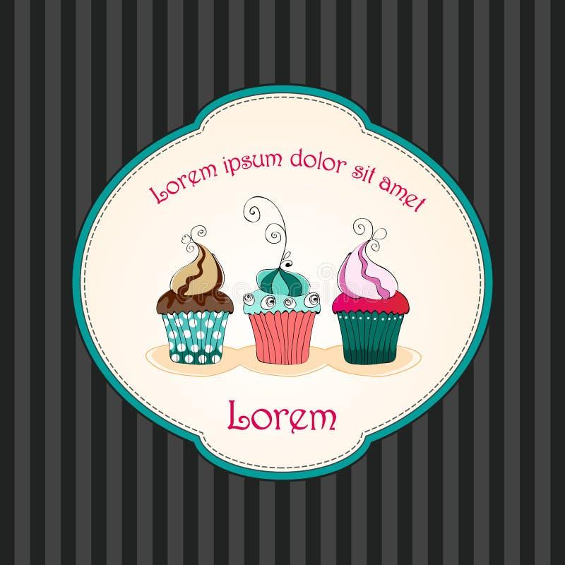Rétro carte mignonne de gâteaux illustration stock