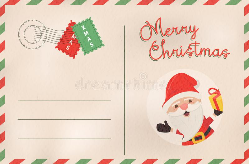 Rétro carte postale de vacances du père noël de Joyeux Noël illustration stock