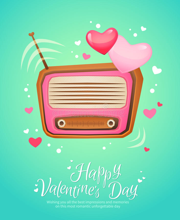 Rétro carte postale romantique de vintage de radio d'amour illustration libre de droits