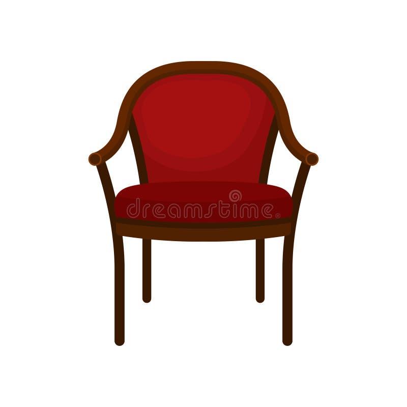 Rétro chaise classique molle rouge, meubles confortables, élément pour l'illustration intérieure à la maison de vecteur sur un fo illustration libre de droits