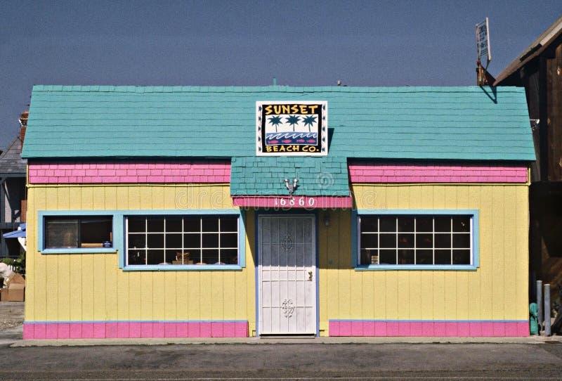 Rétro Chambre de plage colorée à Los Angeles la Californie photos stock