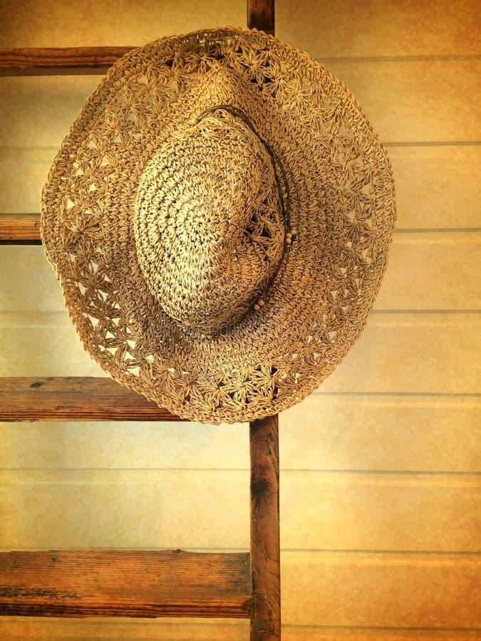 Rétro chapeau de paille de style photographie stock