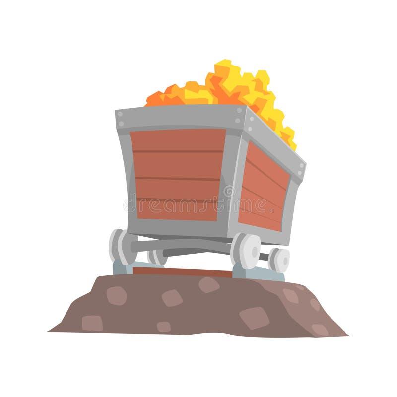 Rétro chariot en bois avec du minerai d'or, illustration de vecteur de bande dessinée de concept d'industrie minière illustration de vecteur