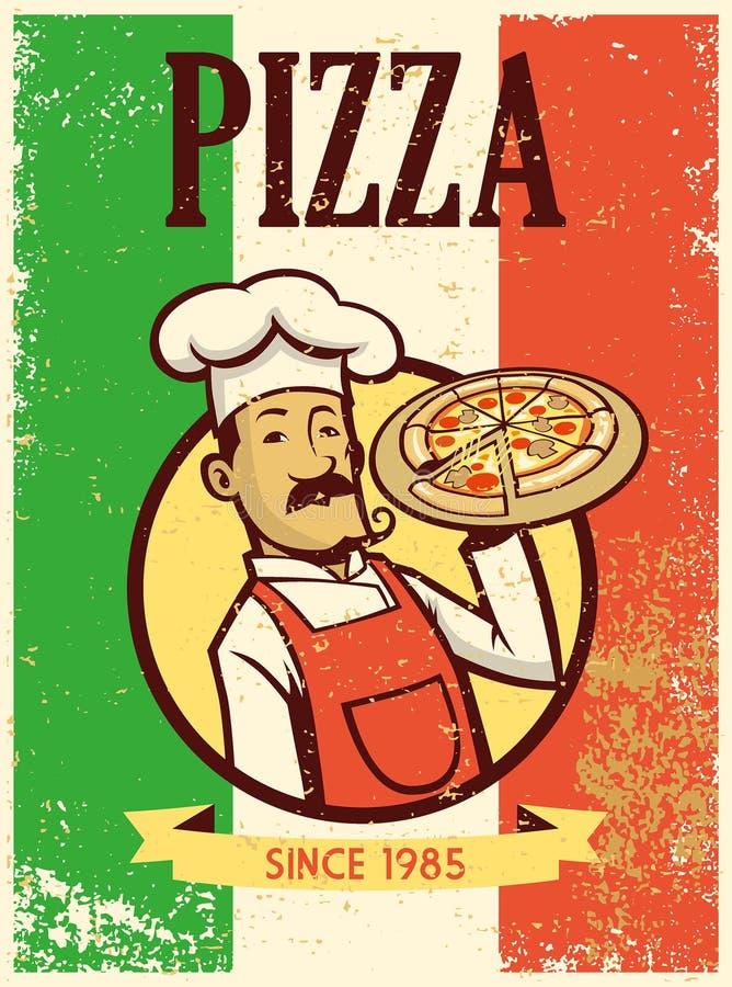 Rétro chef de style présent un plat de pizza illustration stock