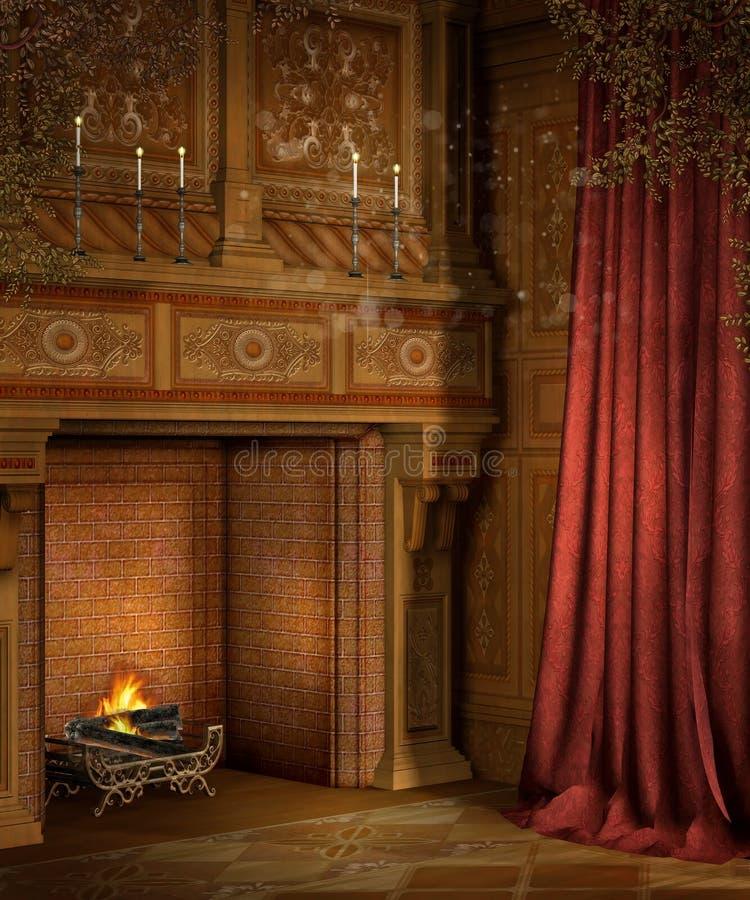 Rétro cheminée avec des rideaux illustration de vecteur