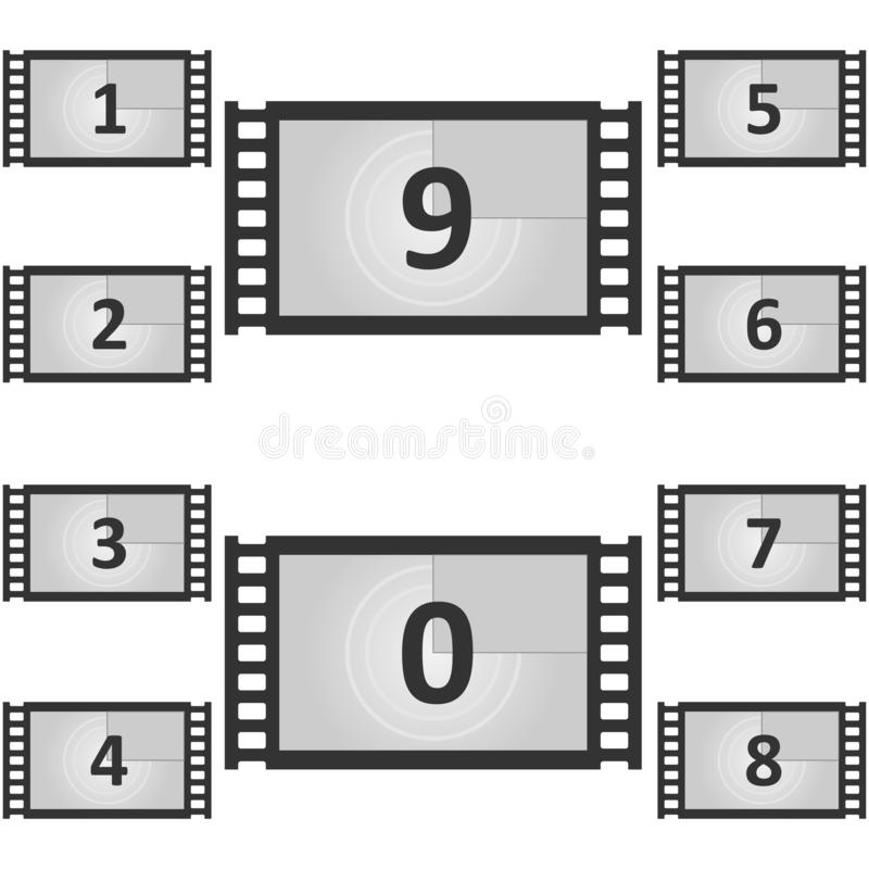 Rétro cinéma de vintage Illustration créative de vecteur de cadre de compte à rebours Vieux compte de minuterie de film de film illustration de vecteur